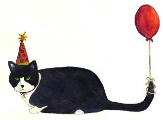 Watercolor painting of cat in birthday hat with balloon tied to tail.