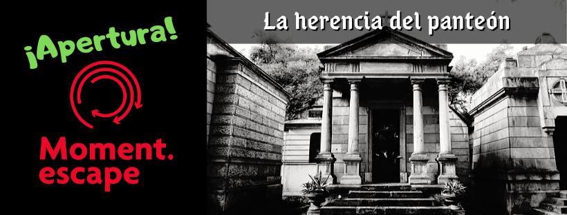 """Cabecera de la entrada de apertura de la escape room """"La herencia del panteón"""", de Moment Escape en Valencia"""