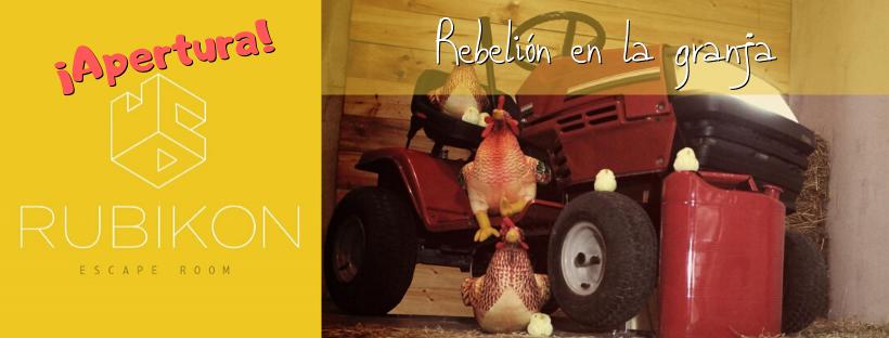 """Cabecera de la entrada de apertura de las escape room """"Rebelión en la granja"""", de Rubikon Escape en Madrid"""